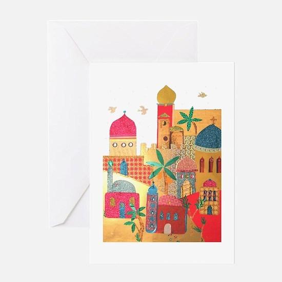 Jerusalem City Colorful Art Greeting Card