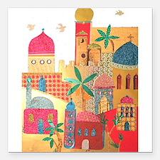 "Jerusalem City Colorful Art Square Car Magnet 3"" x"