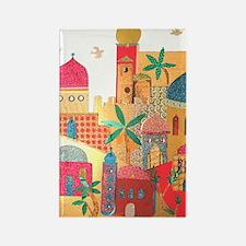Jerusalem City Colorful Art Rectangle Magnet