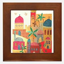 Jerusalem City Colorful Art Framed Tile