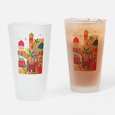 Jerusalem City Colorful Art Drinking Glass