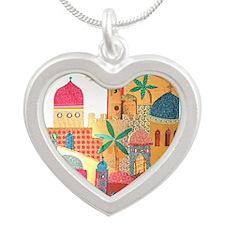 Jerusalem City Colorful Art Silver Heart Necklace