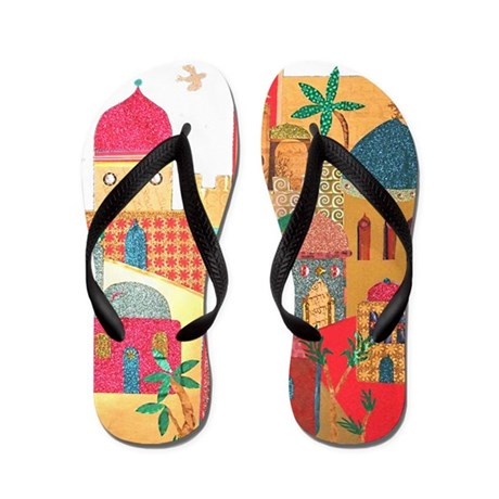 Jerusalem City Colorful Art Flip Flops