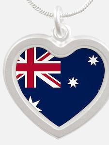 Australia Flag Silver Heart Necklace