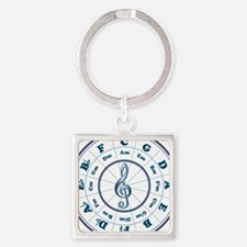 Blue Circle of Fifths Square Keychain