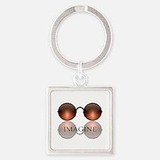 Imagine Rose Colored Glasses Square Keychain