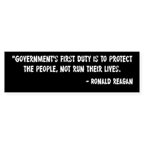 Duty of Government Ronald Reagan Sticker (Bumper)