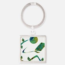 Green Reader Square Keychain