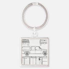 Chevy Suburban Square Keychain