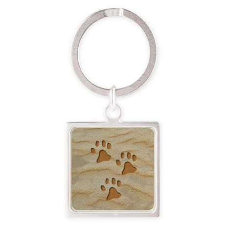 Three Paw Sand Square Keychain