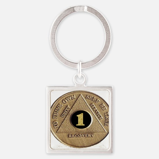 1 YEAR COIN Square Keychain