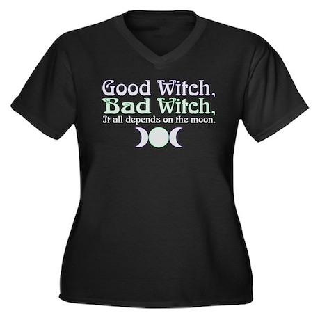 Good Witch, Women's Plus Size V-Neck Dark T-Shirt
