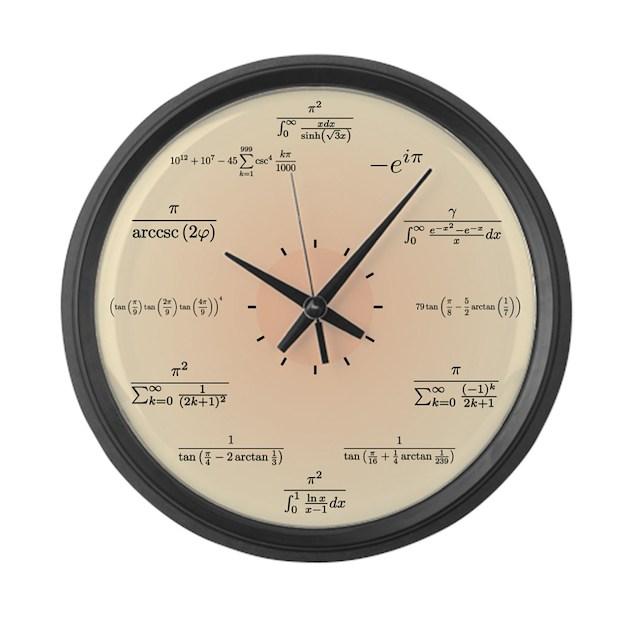 Math Clock (Light Yellow) Large Wall Clock by mathsciencetechnology