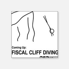 """Fiscal Cliff Diving Square Sticker 3"""" x 3"""""""