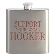 Support Your Local Hooker Red Flask