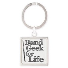 Flute Band Geek Square Keychain