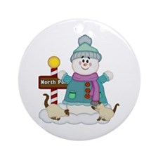 Snowman and Siamese Kitties Ornament (Round)