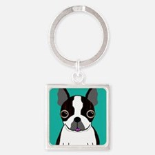 Boston Terrier (Dark Brindle) Square Keychain
