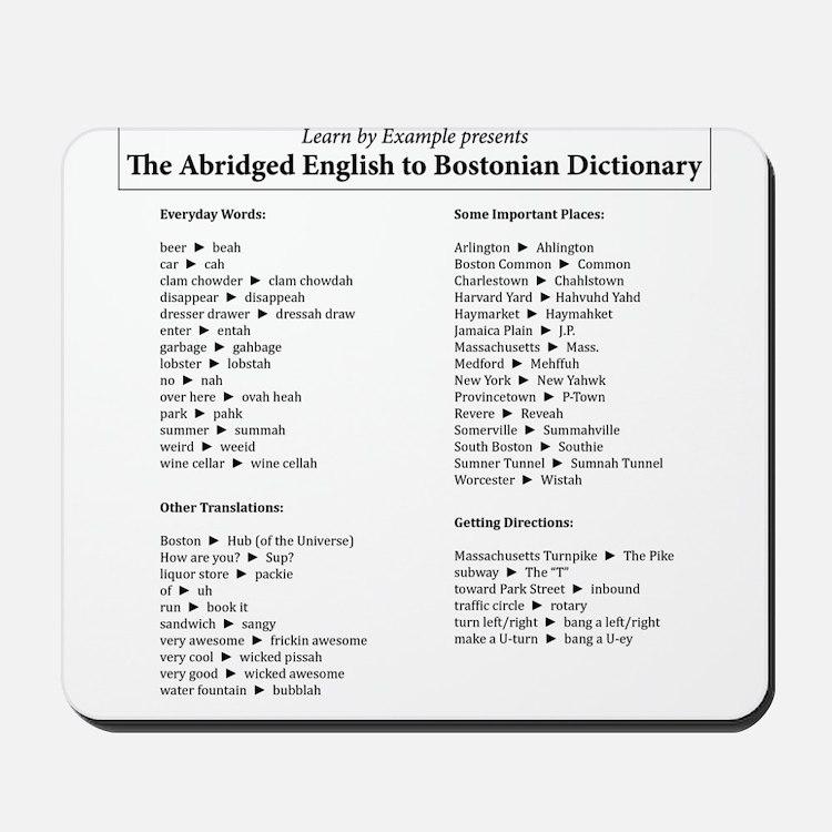 Boston-English Dictionary Mousepad