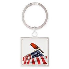 USA Cardinal Square Keychain
