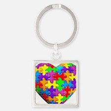 Jelly Puzzle Heart Square Keychain