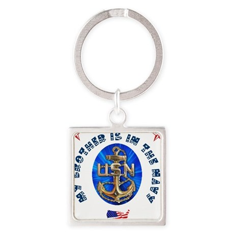 Navy Brother Square Keychain
