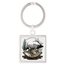 Big Game Elk and Deer Square Keychain