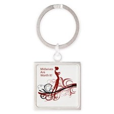 Funny Midwife Square Keychain
