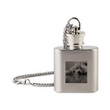 Tired Golden Retriever Puppy Flask Necklace