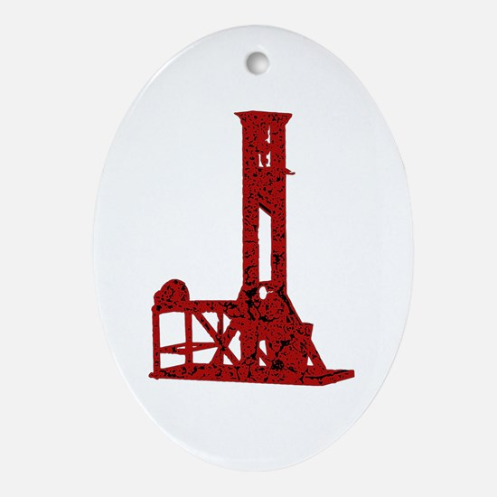 Red Guillotine Ornament (Oval)