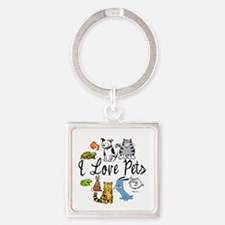 Pet Lover Square Keychain