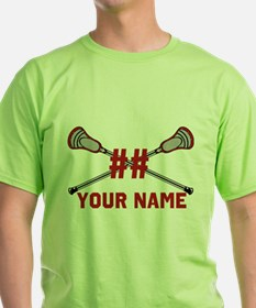 Personalized Crossed Lacrosse Sticks with Red Gree