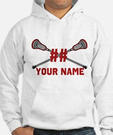 Personalized Crossed Lacrosse Sticks with Red Hood