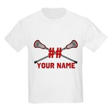 Personalized Crossed Lacrosse Sticks with Red T-Shirt