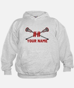 Personalized Crossed Lacrosse Sticks with Red Hoodie