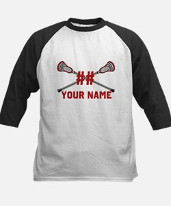 Personalized Crossed Lacrosse Sticks with Red Tee