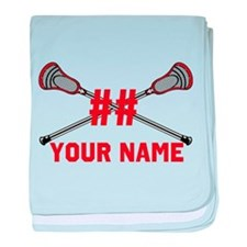 Personalized Crossed Lacrosse Sticks with Red baby