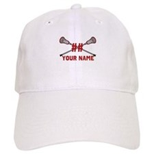 Personalized Crossed Lacrosse Sticks with Red Baseball Baseball Cap