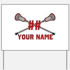Personalized Crossed Lacrosse Sticks with Red Yard