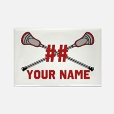 Personalized Crossed Lacrosse Sticks with Red Rect