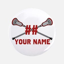 """Personalized Crossed Lacrosse Sticks with Red 3.5"""""""