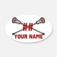 Personalized Crossed Lacrosse Sticks with Red Oval