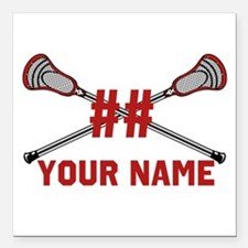 Personalized Crossed Lacrosse Sticks with Red Squa
