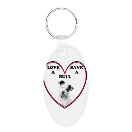 loveabullLrg.png Aluminum Oval Keychain