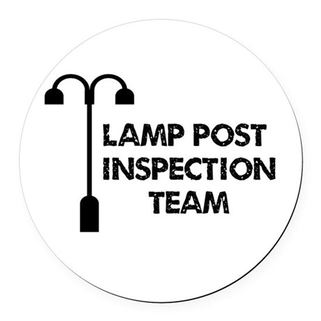 Lamp Post Inspection Team Round Car Magnet