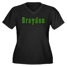 Brayden Grass Women's Plus Size V-Neck Dark T-Shir