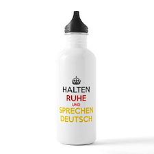 Halten Ruhe und Sprechen Deutsch Water Bottle