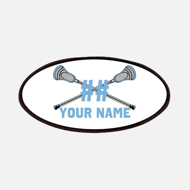 Personalized Crossed Lacrosse Sticks Columbia Blue