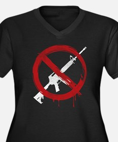 Cute Ban guns Women's Plus Size V-Neck Dark T-Shirt