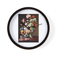 Rachel Ruysh Flower Bouquet Wall Clock